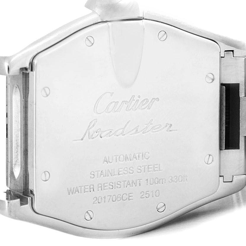 Cartier Roadster Large Mens Steel Black Dial Watch W62004V3 Box papers SwissWatchExpo