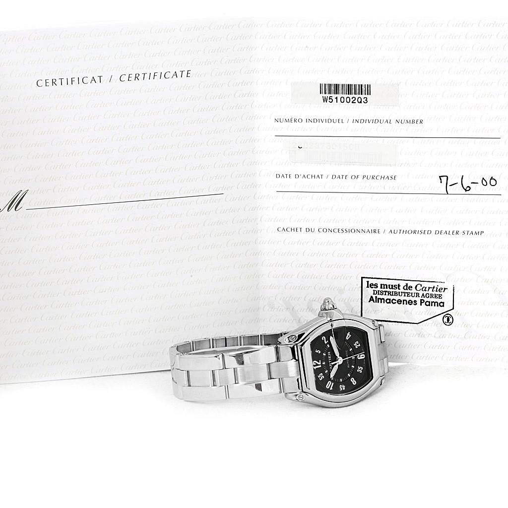 4459 Cartier Roadster Large Mens Steel Black Dial Watch W62004V3 Box papers SwissWatchExpo
