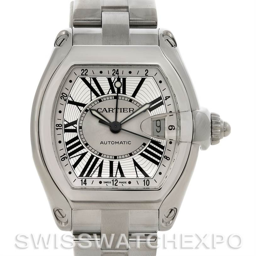 4457 Cartier Roadster Mens X-Large GMT Watch W62032X6 SwissWatchExpo