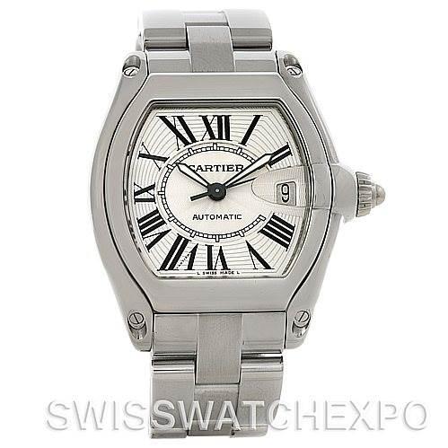 4480 Cartier Roadster Mens Steel Large Watch W62025V3 SwissWatchExpo