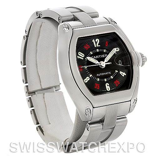 4556 Cartier Roadster Large Mens Steel Black Dial W62002V3 Watch SwissWatchExpo