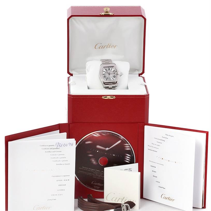 4470 Cartier Roadster Mens X-Large GMT Watch W62032X6 SwissWatchExpo