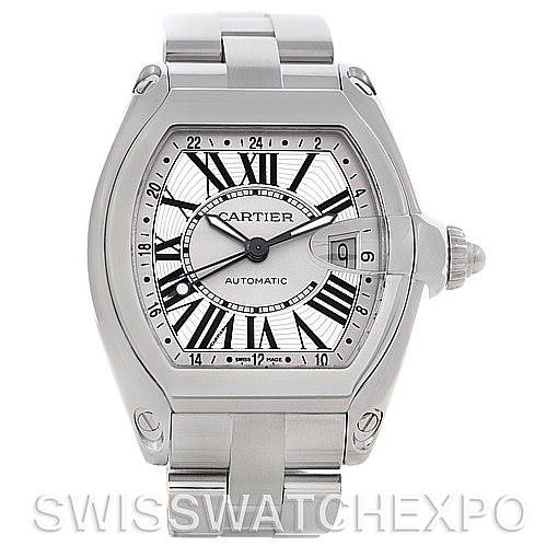 4571 Cartier Roadster Mens X-Large GMT Watch W62032X6 SwissWatchExpo