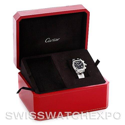 4631 Cartier Roadster Chronograph Mens Black Dial Watch W62020X6 SwissWatchExpo