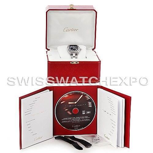 Cartier Roadster Mens Steel Large Black Dial Watch W62041V3 SwissWatchExpo