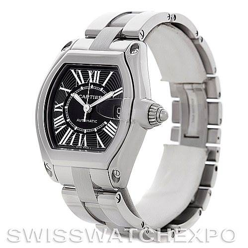 4639 Cartier Roadster Mens Steel Large Black Dial Watch W62041V3 SwissWatchExpo