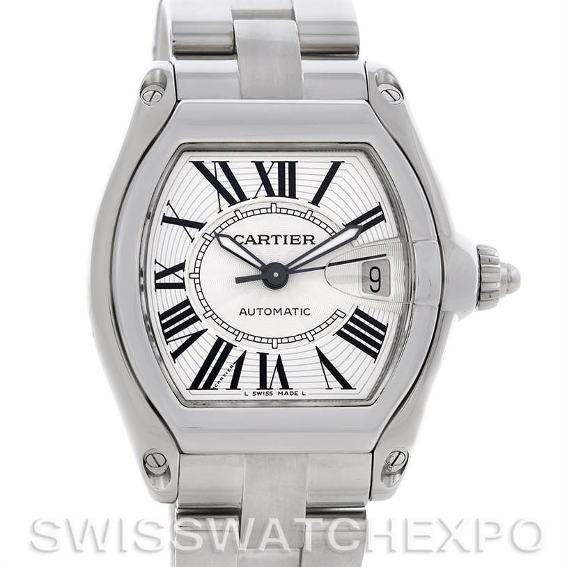 4714 Cartier Roadster Mens Steel Large Watch W62025V3 SwissWatchExpo