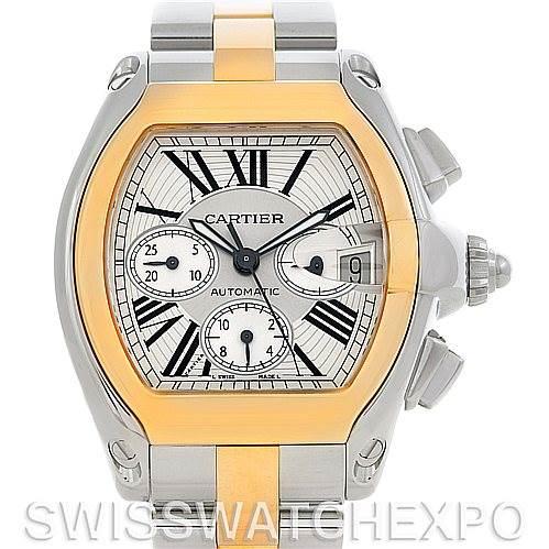 4672P Cartier Roadster Chronograph Mens Steel Yellow Gold Watch W62027Z1 SwissWatchExpo