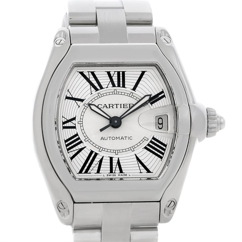 4837 Cartier Roadster Mens Steel Large Watch W62025V3 SwissWatchExpo