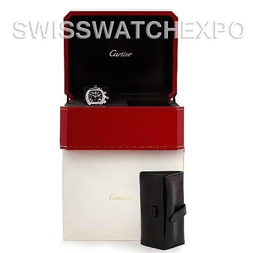 5025 Cartier Roadster Chronograph Mens Black Dial W62020X6 SwissWatchExpo