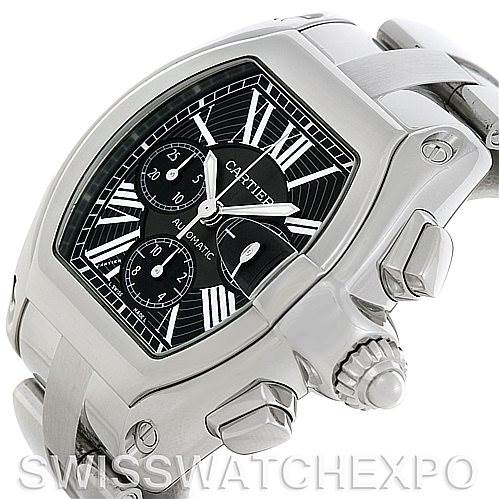 5025 Cartier Roadster Chronograph Mens Black Dial W62020X6 SwissWatchExpo
