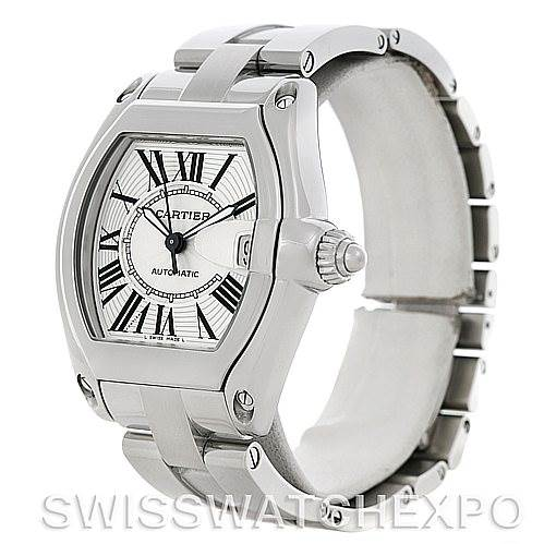 5100 Cartier Roadster Men's Steel Large Watch W62025V3 SwissWatchExpo