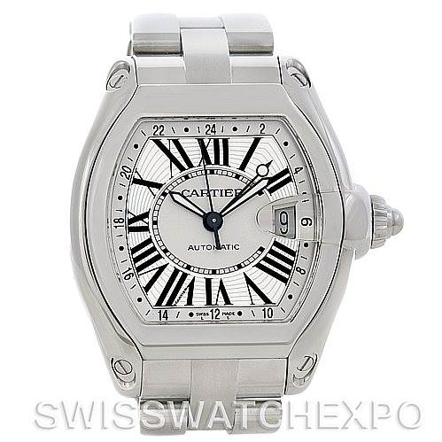 5134 Cartier Roadster Mens X-Large GMT Watch W62032X6 SwissWatchExpo
