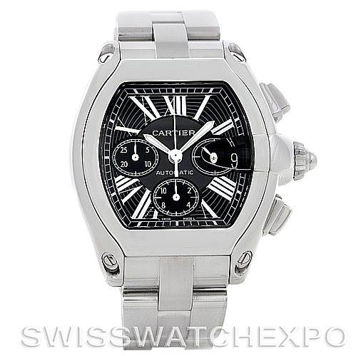 5377 Cartier Roadster Chronograph Mens Black Dial W62020X6 SwissWatchExpo