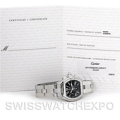 Cartier Roadster Chronograph Mens Black Dial W62020X6 Watch SwissWatchExpo