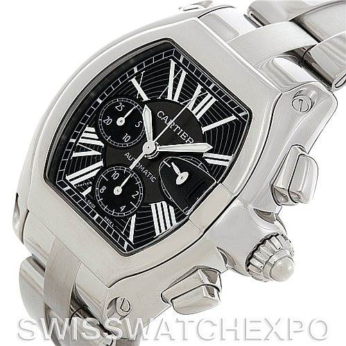 5369 Cartier Roadster Chronograph Mens Black Dial W62020X6 Watch SwissWatchExpo