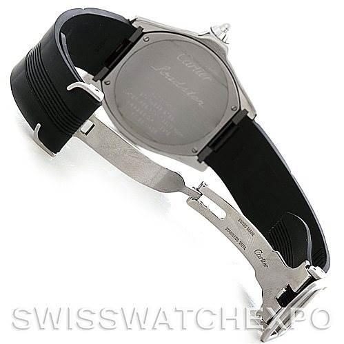 5559 Cartier Roadster S Steel Rubber Strap Mens Watch W6206018 SwissWatchExpo