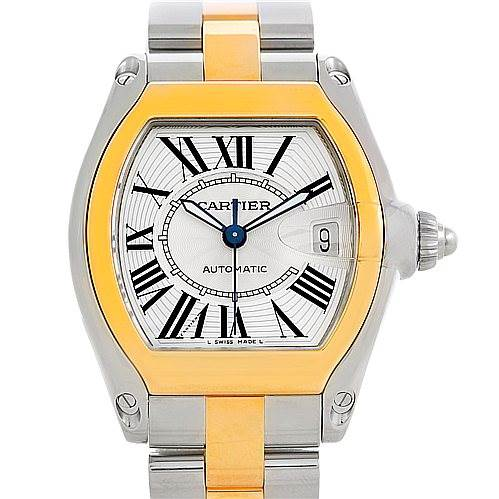 5704 Cartier Roadster 18k Yellow Gold Steel Mens Watch W62031Y4 SwissWatchExpo