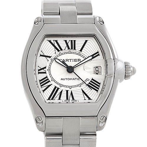 5756 Cartier Roadster Mens Steel Large Watch W62025V3 SwissWatchExpo