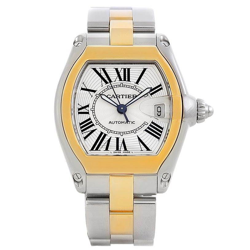 5990 Cartier Roadster 18k Yellow Gold Steel Mens Watch W62031Y4 SwissWatchExpo