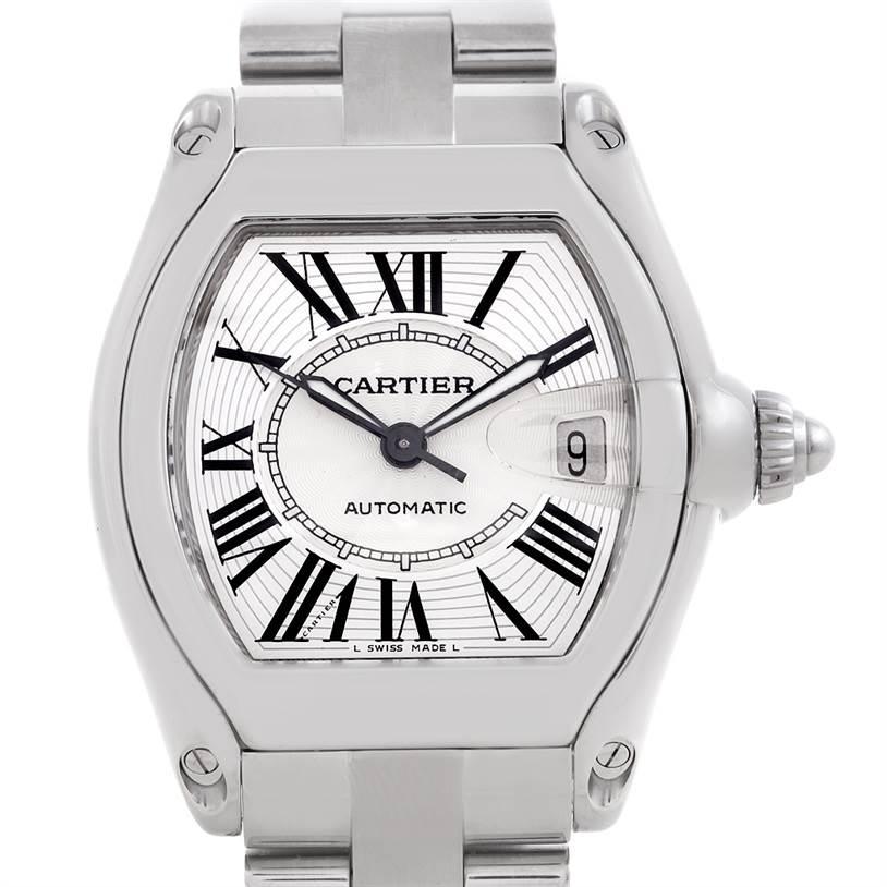 5994 Cartier Roadster Mens Steel Large Watch W62025V3 SwissWatchExpo