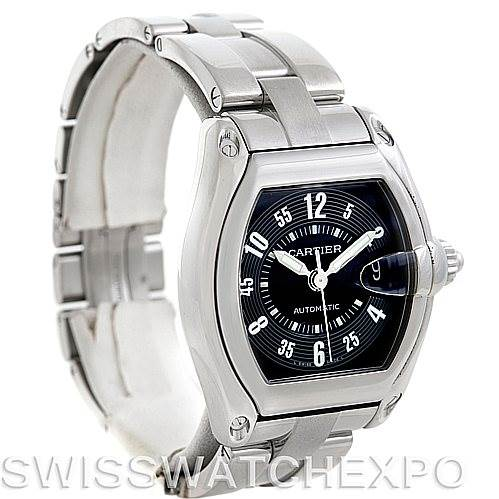 5868 Cartier Roadster Large Mens Steel Black Dial Watch W62004V3 SwissWatchExpo