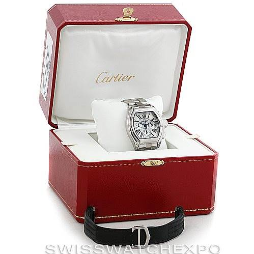 6122 Cartier Roadster Chronograph Mens Watch W62019X6 SwissWatchExpo