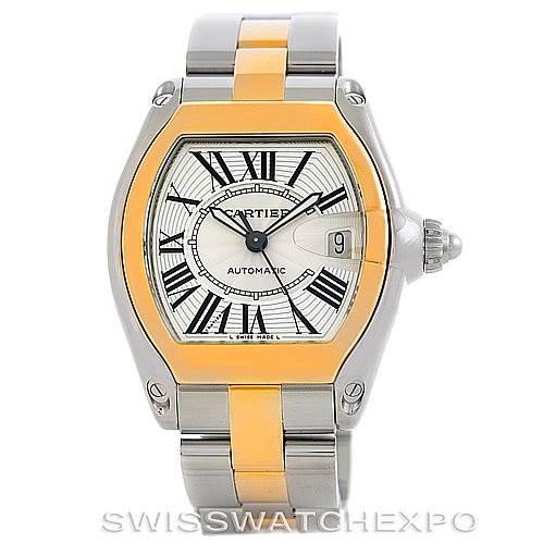 Cartier Roadster 18k Yellow Gold Steel Mens Watch W62031Y4 SwissWatchExpo