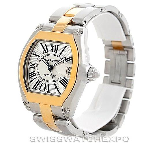 6142 Cartier Roadster 18k Yellow Gold Steel Mens Watch W62031Y4 SwissWatchExpo
