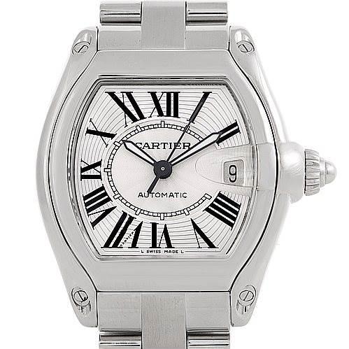 6365 Cartier Roadster Mens Steel Large Watch W62025V3 SwissWatchExpo