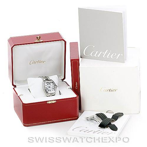 6648 Cartier Roadster Mens Steel Large Watch W62025V3 SwissWatchExpo