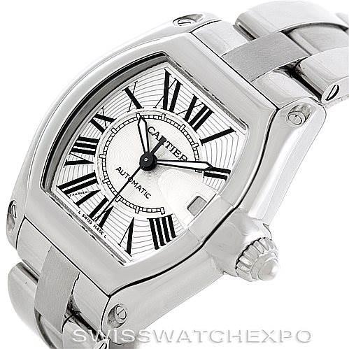 6648 Cartier Roadster Mens Steel Large Watch W62025V3 SwissWatchExpo