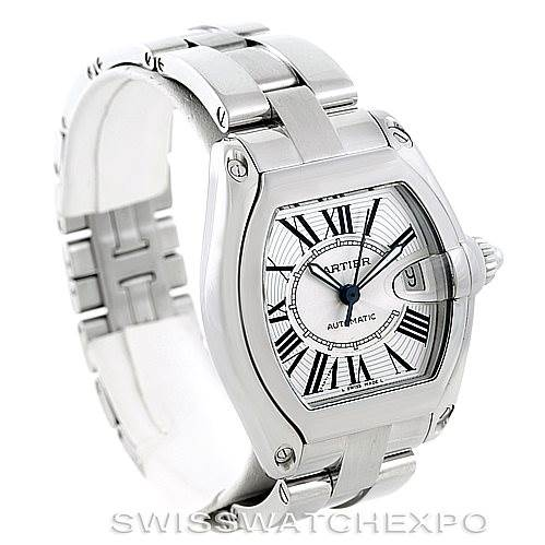 6864 Cartier Roadster Mens Steel Large Watch W62025V3 SwissWatchExpo