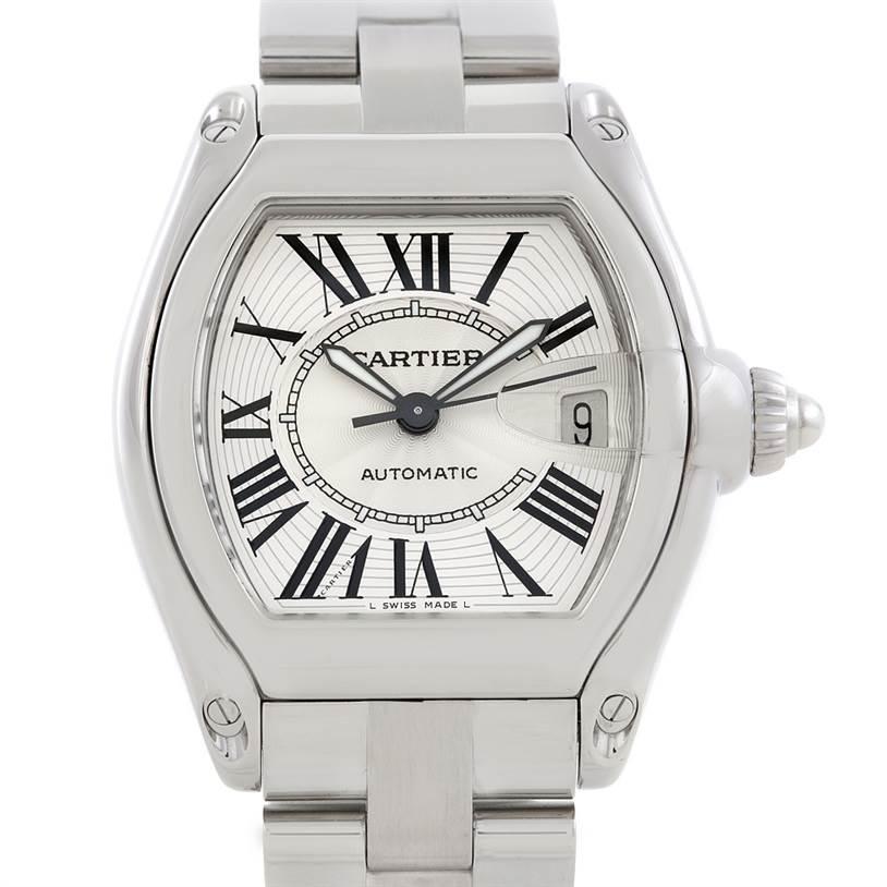 6885 Cartier Roadster Mens Steel Large Watch W62025V3 SwissWatchExpo