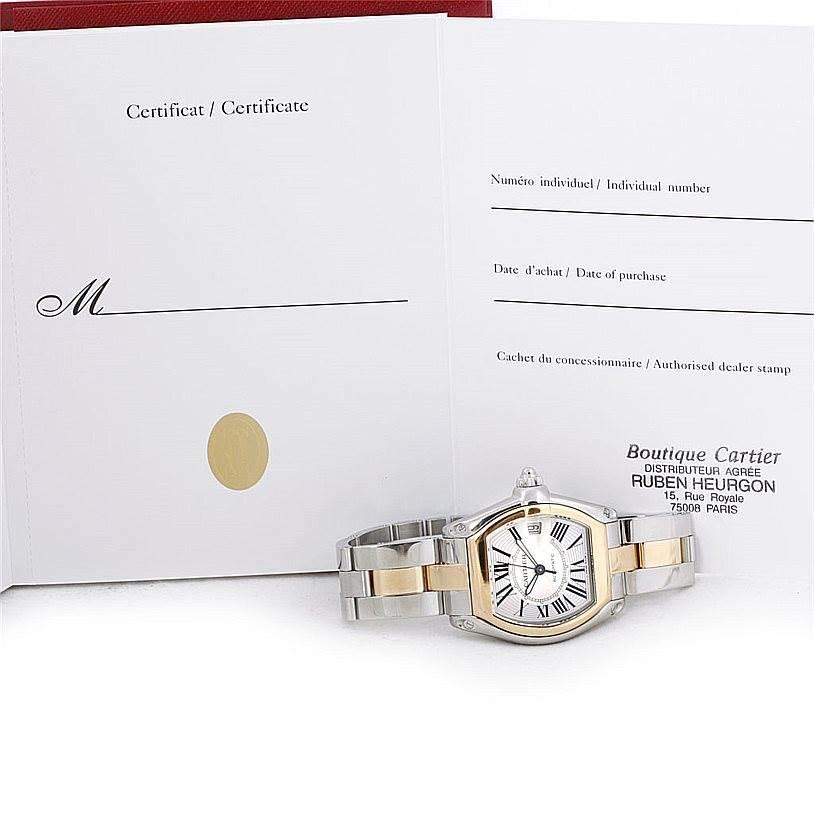 6962 Cartier Roadster 18k Yellow Gold Steel Mens Watch W62031Y4 SwissWatchExpo