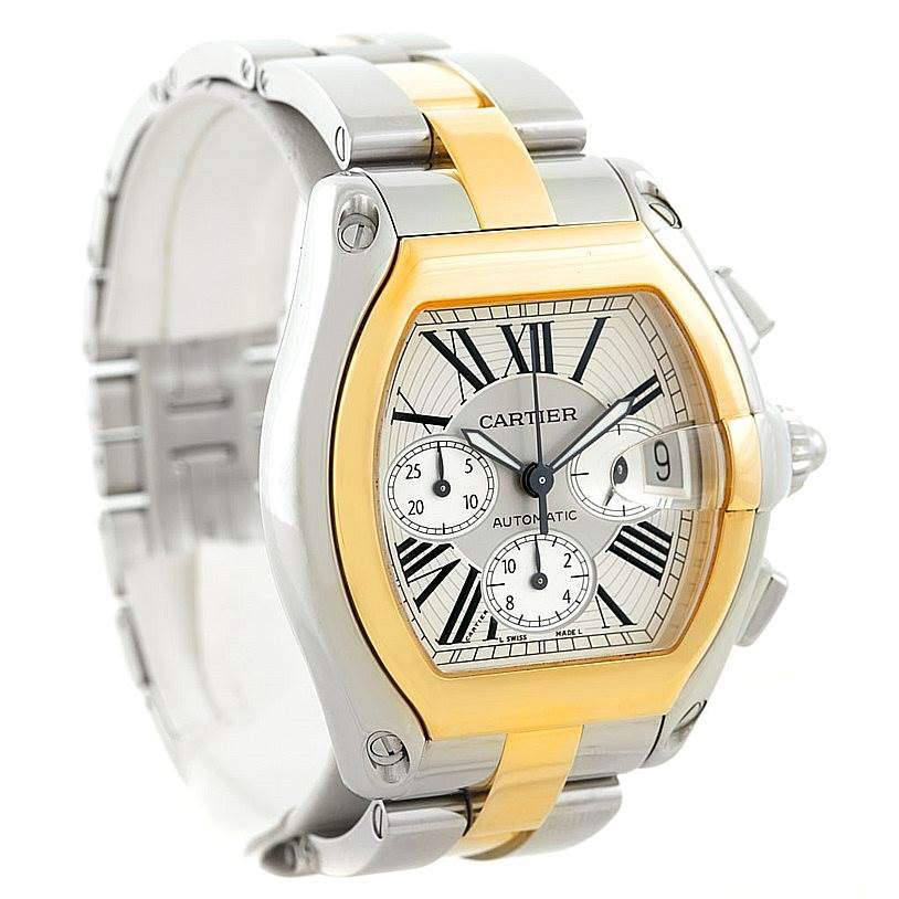 7239 Cartier Roadster Chronograph Mens Steel Yellow Gold Watch W62027Z1 SwissWatchExpo