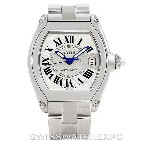 7197 Cartier Roadster Mens Steel Large Watch W62025V3 SwissWatchExpo