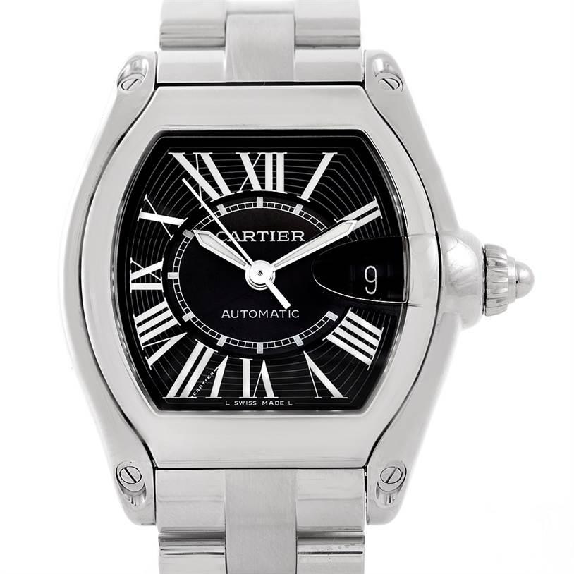 7183 Cartier Roadster Mens Steel Large Watch W62041V3 SwissWatchExpo