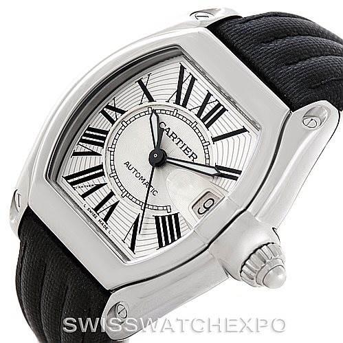 7296 Cartier Roadster Mens Steel Large Watch W62025V3 SwissWatchExpo