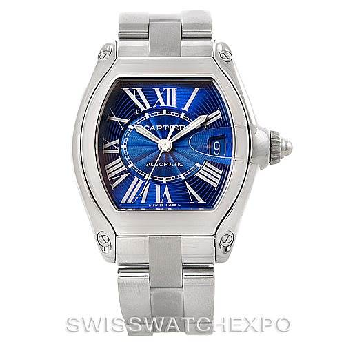 7430 Cartier Roadster Mens Steel Large Blue Dial Watch W62048V3 SwissWatchExpo