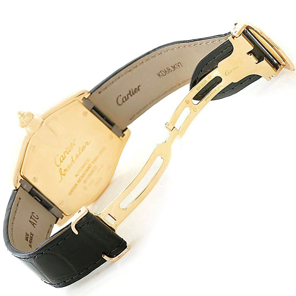 7754 Cartier Roadster Yellow Gold Black Strap Mens Watch W62005V2 Box Papers  SwissWatchExpo