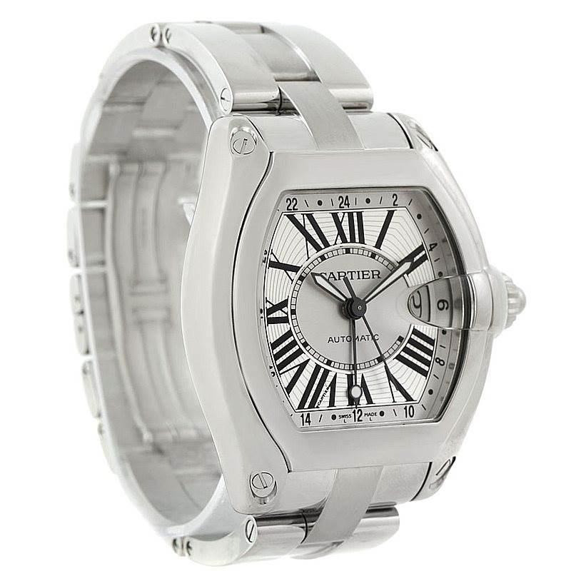 7747 Cartier Roadster Mens X-Large GMT Watch W62032X6 SwissWatchExpo