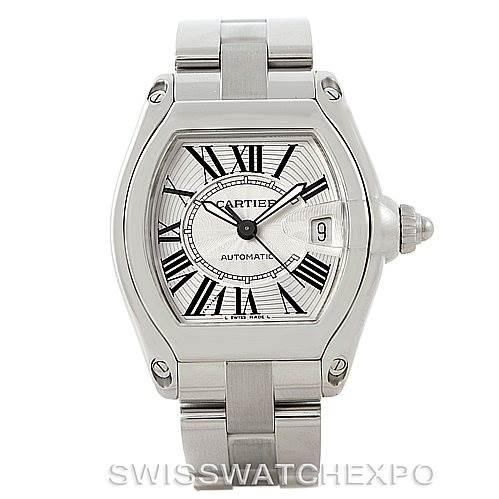 7806 Cartier Roadster Mens Steel Large Watch W62025V3 SwissWatchExpo