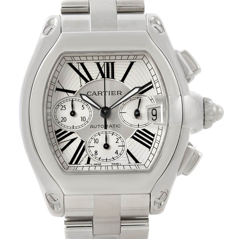 7820 Cartier Roadster Chronograph Silver Dial Mens Watch W62019X6 SwissWatchExpo