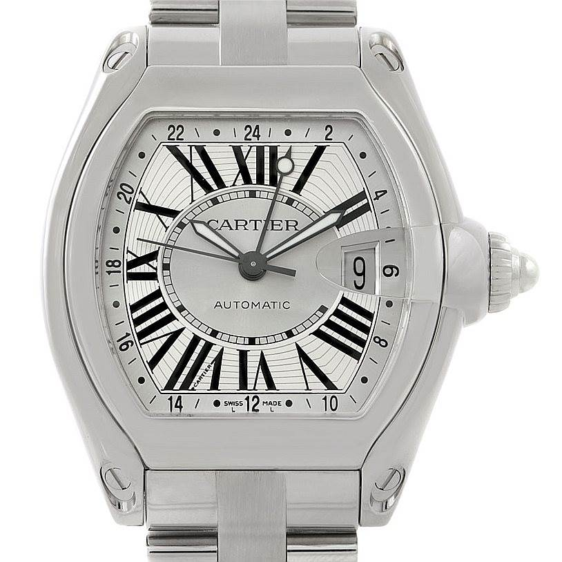 7807 Cartier Roadster Mens XL GMT Watch W62032X6 SwissWatchExpo