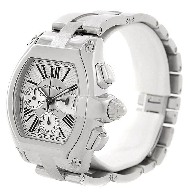 7962 Cartier Roadster Chronograph Silver Dial Mens Watch W62019X6  SwissWatchExpo