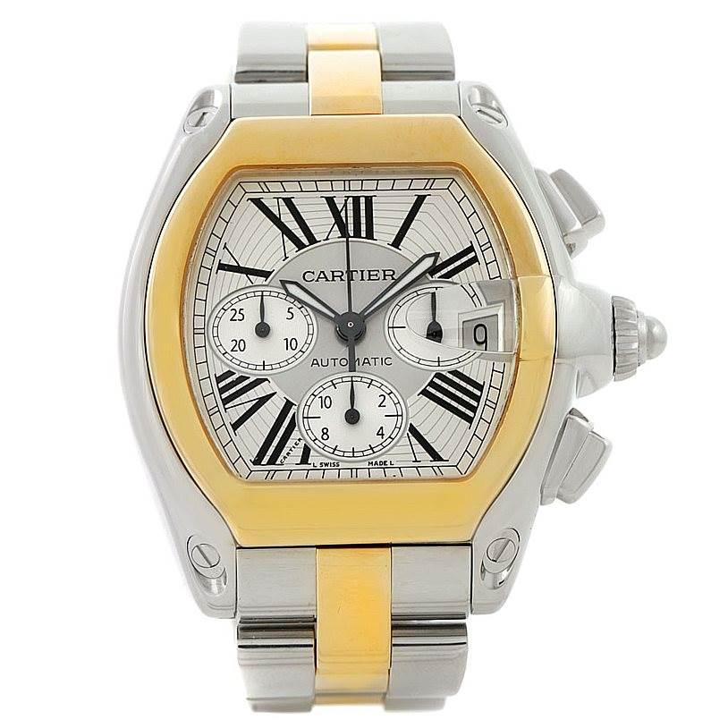 7975 Cartier Roadster Chronograph Mens Steel Yellow Gold Watch W62027Z1 SwissWatchExpo