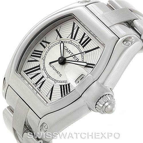 Cartier Roadster Silver Dial Mens Steel Large Watch W62025V3 SwissWatchExpo