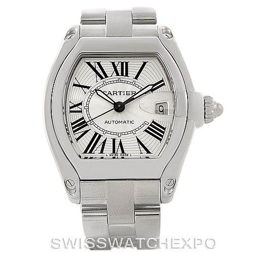 7961 Cartier Roadster Silver Dial Mens Steel Large Watch W62025V3 SwissWatchExpo
