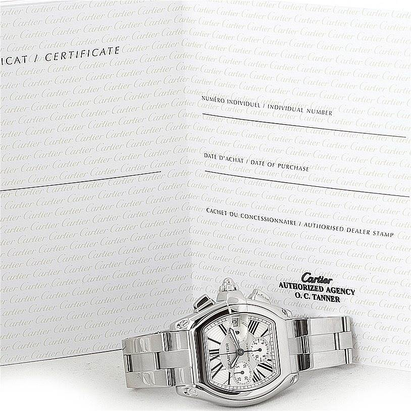 7971 Cartier Roadster Chronograph Silver Dial Mens Watch W62019X6 SwissWatchExpo
